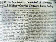 <1945 WW II newspaper 40 DACHAU CONCENTRATION CAMP GUARDS CONVICTED Holocaust