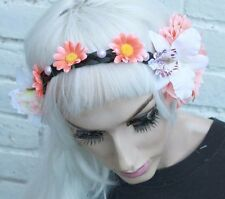 PEACH FLOWER SILVER STUDDED FAIRY CROWN HIPPY PASTEL GOTH GRUNGE INDIE HEADBAND