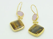 Ottomangems semi precious stone gold plated earrings agate tiger eye  handmade