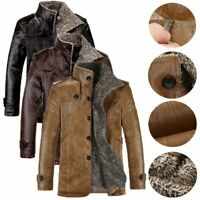 Mens Lamb Fur Leather Warm Jacket Coat Zip Lining Thick Coats Winter Jacket Coat
