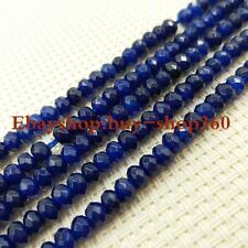 2x4mm Faceted Dark Blue Sapphire Roundelle Gemstone Loose Beads 15""