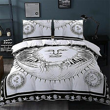 white sun and moon bedding set with pillow cases indian cotton bedding set
