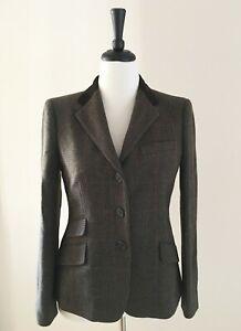 Ralph Lauren Wool Riding Jacket Women Size 8 M Olive Multi Plaid Velvet Collar