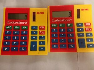 2 Lakeshore Calculator Vintage Yellow Red Dual Power Math Tool Works