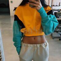 Womens Long Sleeve Sweatshirt Drawstring Hem Color Block Crop Pullover Tops S-XL