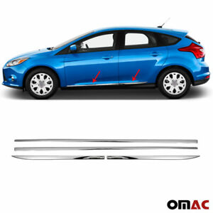 For Ford Focus 2012-2014 Chrome Side Door Trim Streamer Guard S.Steel 4 Pcs