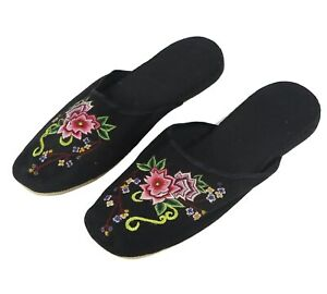 Handmade Embroidered Floral Flower Chinese Women's Cotton Slippers Size 9 New