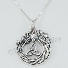Ouroboros Pendant 925 Sterling Silver Dragon eating Tail Necklace serpent Celtic