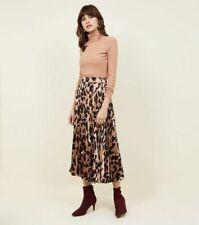 Brand NEW LOOK Brown Leopard Print Pleated Satin Midi Skirt Size 8-14 RRP £22.99
