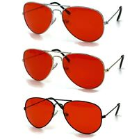 70's Glasses Red Tint Lens Aviator Sunglasses Pilot Classic Silver Metal Frame