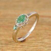 925 Sterling Silver Emerald Oval Cut Gemstone Ring Fine Wedding Jewelry Gift
