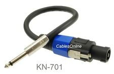 "1ft 1/4"" Mono Male Plug to Speakon Male Type Speaker/Amplifier Jumper Cable"