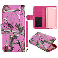 Pink  Camo  Wallet Leather Flip Pouch iPod Touch 6 6th Gen Case Cover