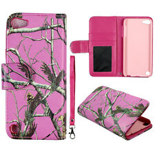 Pink  Camo  Wallet S Leather Flip  iPod Touch 6 6th Gen  Case Cover