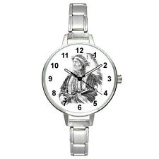 Native American Stainless Steel Italian Charm Band Mens Ladies Wrist Watch BM371