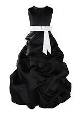 Black Satin Flower Girl Dress Bridesmaid Dress 1-10 Year Sash in 10 Colours