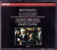 BRENDEL: BEETHOVEN Piano Concerto 1 2 3 4 5 LEVINE 3CD Alfred James Live 1983