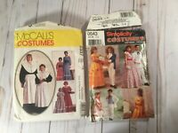 Lot of 2 Girls costume dress patterns beauty beast southern pioneer pilgrim boys