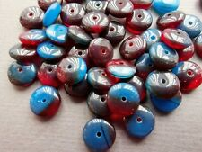 Czech glass brown blue disc saucer spacer beads 9 mm pack of 20