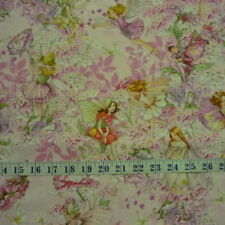 Petal Flowers Fairies Pink Michael Miller Cotton Quilting Fabric 1/2 YARD