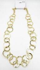 "New 34"" Long Shiny Gold Tone Classic Circle Link Necklace NWT $28 #N2533"