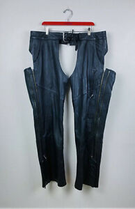 Mens Harley Davidson Riding Embossed Deluxe Black Leather Chaps Dual Zipper 2XL