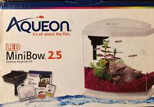 Aqueon Led MiniBow Desktop Aquarium Fish Tank Black ~2.5 Gallons ~New (Open Box)