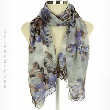 SIMPLY VERA WANG Moonlight Gray SCARF with SILVER METALLIC Oblong LIGHTWEIGHT