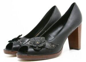 Fioni Heels Dress Shoes Womens 10 Black Floral Flowers Peep toe platform pumps