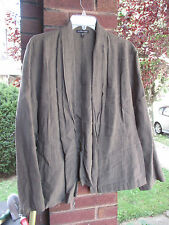 EILEEN FISHER olive green open front linen blend jacket  - size LARGE