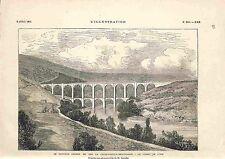 Le Chemin de Fer La Cluse-Nantua-Bellegarde Viaduc de l'Ain GRAVURE 1882