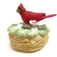 Vintage Lefton Cardinal Nest Flower Bisque Porcelain Hand Painted Bird Exclusive