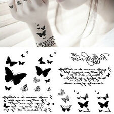 Removable Waterproof Temporary Tattoo Black Butterfly Letter Body Art Sticker