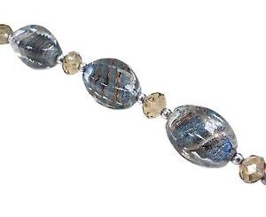 Lampwork Glass Bead Barrel Earthy Swirly Silver Foil  25x13mm 5pcs Beads