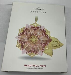 Hallmark Keepsake 2019 Beautiful Mom Flower Glass and Metal Ornament