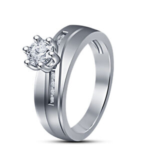 Wedding Engagement 1.31 Ctwt Round Cut Solitaire Diamond Ring White Gold Plated