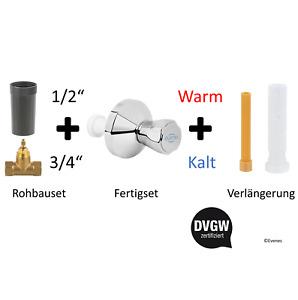 BRUSE Unterputzventil Abstellhahn + Kalt o Warm Set + Verlängerung wählbar DVGW