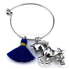 KB178 Silver Fairytale Unicorn Pearl Cage Cotton Tassel Stainless Steel Bracelet