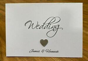 10 Handmade Personalised Single Heart Wedding Invitations