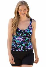 WOMENS Beach Belle LAVENDER MINT Floral TANKINI  Swim Top Size: 18 NEW WITH TAG