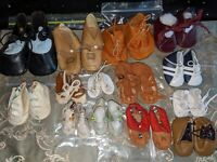 Lot of 14 pairs of Vintage and Antique doll shoes, leather, cloth, buckle