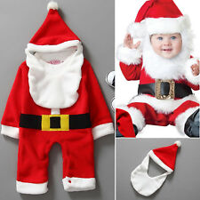 Infant Baby Boys Girls Christmas Santa Claus Costume Romper Hat Outfits Clothes