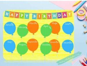 A4 BIRTHDAY CALENDAR/ CHART- wipeable EYFS childminding, teacher resource.