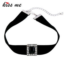 KISS ME New Crystal Square Black Velvet Choker Necklace xl02138