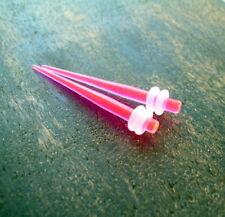Pair 6g Ear Plug-Tapers-Piercings Expander Stretcher-Gauges Hot Pink UV