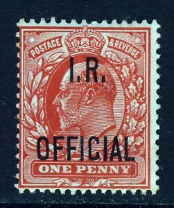 GB KE VII 1902 1d. Scarlet Overprinted  I. R. OFFICIAL SG O21 (Spec. MO2) MINT