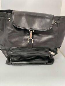 I Donzelli, Black Leather, Extra Large, Hook Closure, Backpack #KW GA-1047