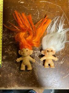 "Lot of 2 Vintage Dam Trolls Dolls 3"" Orange & White Hair"