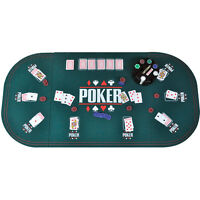 CASINO TABLE ONLY BLUE FELT POKER CHIPS GAME POKER PLAYING CARDS BLACKJACK DICE