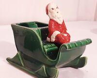 Vtg Santa in Sleigh Treasure Craft Sprite Elf Planter HTF California USA